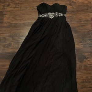 New Black Strapless Gown